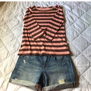 J.Crew Jeweled Striped Boatneck T-Shirt